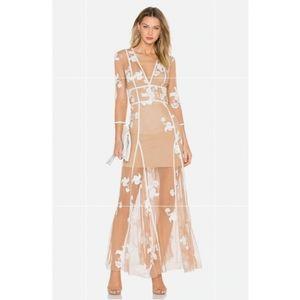 For love and lemons elenora maxi mesh white dress